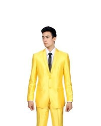 Ferrecci slim fit shiny yellow sharkskin suit medium 656765