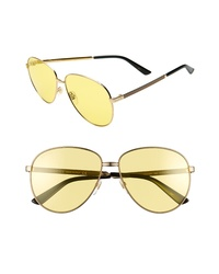 Gucci 61mm Metal Aviator Sunglasses