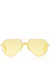 Andy Wolf Eyewear Yellow Tinted Metal Aviator Sunglasses
