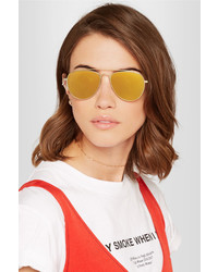 Tomas Maier Aviator Style Gold Tone Mirrored Sunglasses Yellow