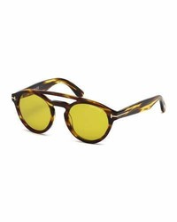 Tom Ford Clint Round Double Bridge Sunglasses Brownyellow