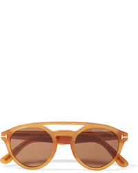 Tom Ford Clint Round Frame Acetate Sunglasses Saffron