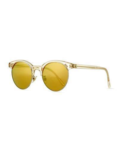 Oliver Peoples Ezelle Mirrored Semi Rimless Sunglasses Yellow
