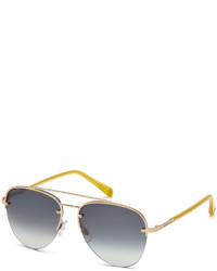 DSQUARED2 Half Rim Contrast Aviator Sunglasses Goldenblue