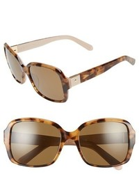 Kate Spade New York Annor 54mm Polarized Sunglasses Honey Havana Beige