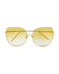 Linda Farrow Oversized Cat Eye Gold Tone Sunglasses