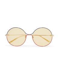 Gucci Oversized Round Frame Gold Tone Sunglasses