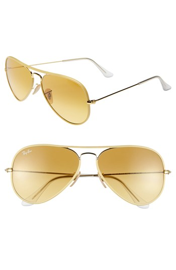ray ban aviator sunglasses yellow  ray ban 58mm aviator sunglasses gold w yellow none