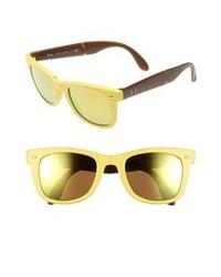 Ray-Ban Folding Wayfarer 50mm Sunglasses Matte Yellow One Size