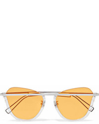 Rejina Pyo Projekt Produkt Cat Eye Silver Tone Sunglasses Yellow
