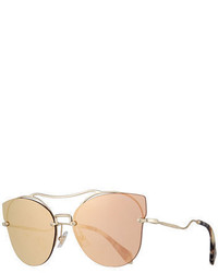 Miu Miu Scenique Rimless Mirrored Brow Bar Sunglasses