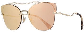 Miu Miu Scenique Rimless Mirrored Brow Bar Sunglasses