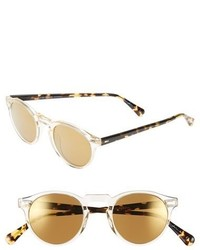 Oliver Peoples Gregory Peck 47mm Retro Sunglasses Yellow Gold Mirror