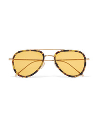 Illesteva Wooster Aviator Style Tortoiseshell Acetate And Gold Tone Sunglasses