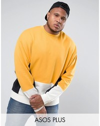 Asos Plus Oversized Cut Sew Sweatshirt In Yellow