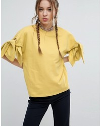 Asos Sweatshirt With Knot Sleeve Detail
