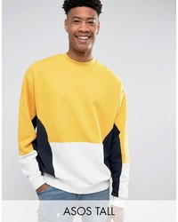 Asos Tall Oversized Cut Sew Sweatshirt In Yellow
