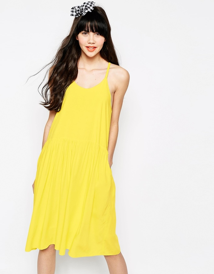 18ea3f6398 ... Yellow Swing Dresses The Whitepepper Waisted Cami Swing Dress ...