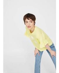Mango Ruffled Sleeve T Shirt