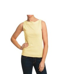 Specially made Boat Neck Tank Top Cotton Soft Yellow
