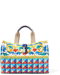 Dolce & Gabbana Escape Textured Leather Trimmed Printed Canvas Tote Yellow