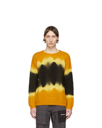Palm Angels Yellow And Black Tie Dye Casentino Sweater