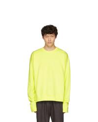 The Elder Statesman Yellow Dip Dyed Fleece Sweatshirt