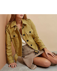 River Island Yellow Ri Studio Cropped Trench Jacket