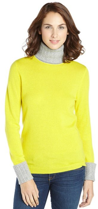 Magaschoni Yellow And Grey Cashmere Knit Colorblock Turtleneck ...