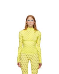 Maisie Wilen Yellow Perforated Turtleneck