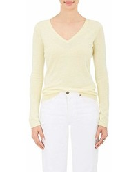 Barneys New York Silk Cashmere V Neck Sweater