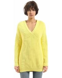 Wide v neck cotton rib knit sweater medium 6986173