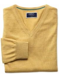 Charles Tyrwhitt Yellow Merino Wool V Neck Sweater Size Small By