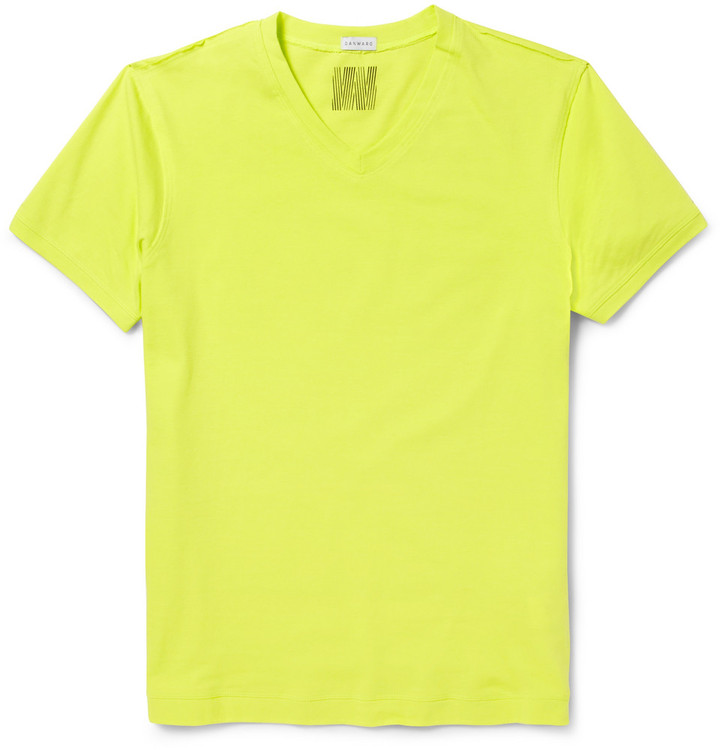 Yellow V Neck T Shirt Dan Ward V Neck Cotton Jersey T