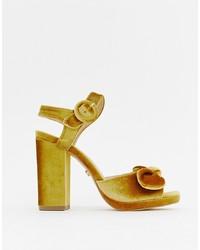 Oasis Block Heeled Sandals In Yellow Velvets