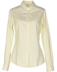 Yellow Vertical Striped Dress Shirt
