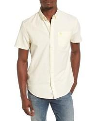 Yellow Vertical Striped Short Sleeve Shirt
