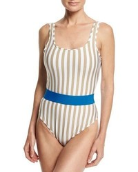Diane von Furstenberg Striped Classic One Piece Swimsuit White Multi