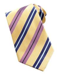 Ermenegildo Zegna Textured Striped Silk Tie Yellow