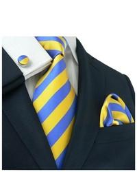 TheDapperTie Striped Yellow Blue Silk Tie Set 536s