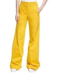 Wide leg stretch cotton trousers yellow medium 3719692