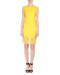 Givenchy Sleeveless Lace Hem Sheath Dress Yellow