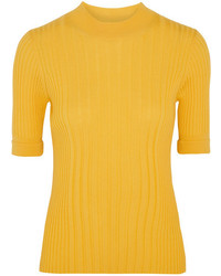 Maison Margiela Ribbed Wool Sweater Yellow