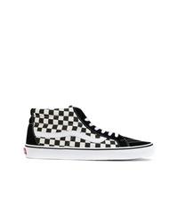 Zapatillas altas de ante a cuadros negras de Vans
