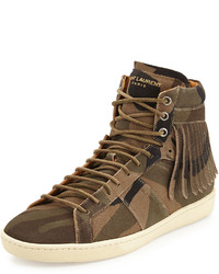 Zapatillas altas de ante de camuflaje marrónes de Saint Laurent
