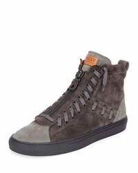 Zapatillas altas de ante en gris oscuro de Bally