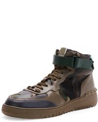 Zapatillas altas de camuflaje verde oliva de Valentino
