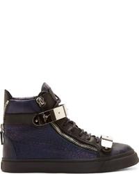 Zapatillas altas de cuero azul marino