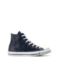 Zapatillas altas de cuero azul marino de Converse