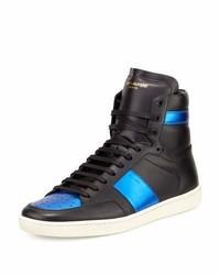 Zapatillas altas de cuero azul marino de Saint Laurent